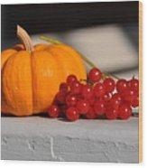 Pumpkin N Berries Wood Print