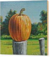 Pumpkin Post Wood Print
