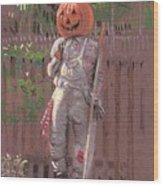 Pumpkin Scarecrow Wood Print
