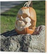Pumpkin Skull Wood Print