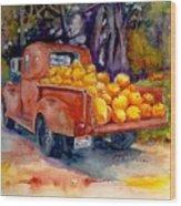 Pumpkin Truck Wood Print