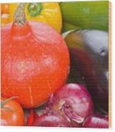Pumpkin With  Vegetables Wood Print