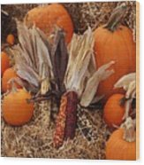 Pumpkins And Corn Wood Print