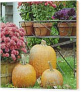 Pumpkins And Flowers Wood Print