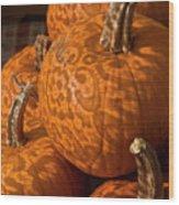 Pumpkins And Lace Shadows Wood Print