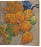 Pumpkins And Watering Can Wood Print