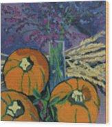 Pumpkins And Wheat Wood Print