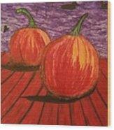 Pumpkins At The Dock Wood Print