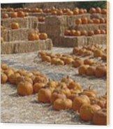 Pumpkins On Bales Wood Print