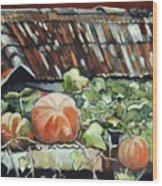 Pumpkins On Roof Wood Print