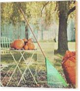 Pumpkins On The Table Wood Print