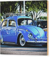 Punch Buggie Blue Wood Print