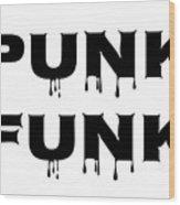 Punk Funk - Black On White Background Wood Print