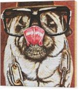 Punk Pug Wood Print
