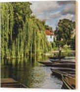 Punting, Cambridge. Wood Print