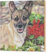 Pup In The Garden Wood Print