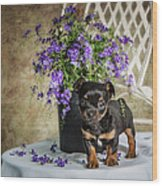 Puppy Dog With Flowers Wood Print