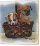Pups In A Basket Wood Print