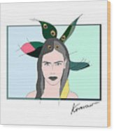 Pure Elixir- Beautiful Woman Portrait Minimalist Drawing Wood Print