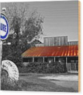 Pure Gas Station Wood Print