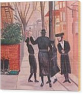 Purim In Boro Park Wood Print by Carla Goodstein