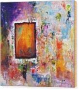 Purple Abstract Oil Painting Purplicious Wood Print