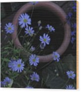 Purple And Blue Flowers Wood Print