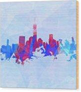 Purple And Blue New York Skyline Wood Print