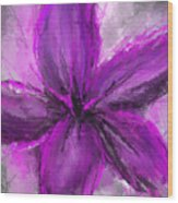 Purple And Gray Art Wood Print