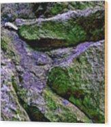Purple And Green Rock Wood Print