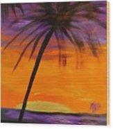 Purple And Orange Sky Wood Print by Marie Bulger
