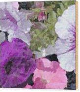 Purple And Pink Petunias Oil Painting Wood Print
