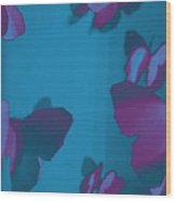 Purple And Turquoise Butterflies Wood Print