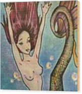Purple Arowana Mermaid Wood Print