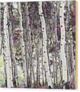 Purple Aspens Wood Print