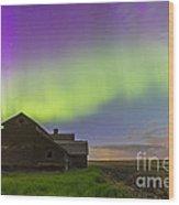 Purple Aurora Over An Old Barn Wood Print