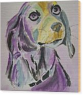 Purple Beagle Wood Print