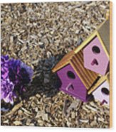 Purple Birdhouses 2 Wood Print