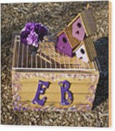 Purple Birdhouses 3 Wood Print