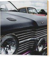 Purple, Black And Chrome Wood Print