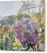 Purple Blossoms Monets Garden Watercolor Paintings Of France Wood Print