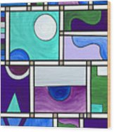 Purple-blue-green Abstract 1 Wood Print
