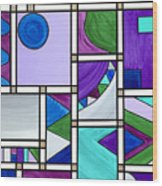 Purple-blue-green Abstract 3 Wood Print
