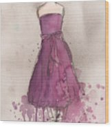 Purple Bow Dress Wood Print by Lauren Maurer