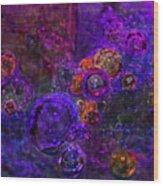 Purple Bubbles Painting Wood Print
