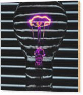 Purple Bulb Wood Print