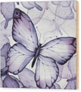 Purple Butterflies Wood Print