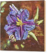 Purple Cactus Flower Wood Print