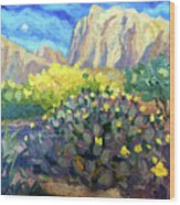 Purple Cactus With Yellow Flower Wood Print