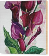 Purple Callas Wood Print